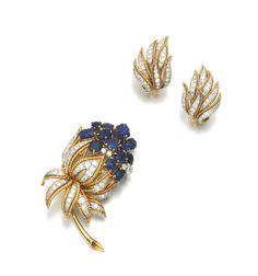 Sapphire and diamond demi-parure, Vourakis, 1960s.  |  © 2013 Sotheby's