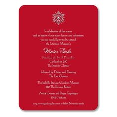 Scarlet Red Rounded Corners Holiday Invite with Snowflake William Arthur