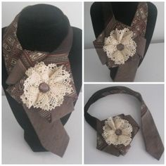 Upcycled ladies pleated necktie necklace in earthy brown | Ties 'n' Buttons