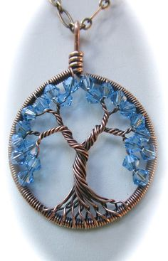 Aquamarine Swarovski Crystal Tree of Life by Mariesinspiredwire