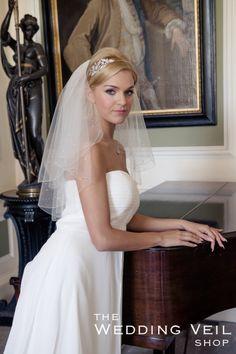 Wedding Veil RAIN: RAIN is a two layer elbow length veil with a pencil scalloped edge and triple diamante beading.