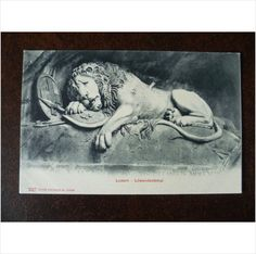 Switzerland Lake Lucerne Lion Monument 227 vintage Photoglob postcard sculpture by L Ahorn