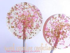 FEATURED on TODAY.COM Pink and Gold Wedding Favors, Pink Candy Lollipop, Sparkle Lollipops, Sweet Caroline Confections, Six Lollipops