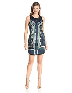 Greylin Womens Azteca Embroidered Shift Dress Navy XSmall -- Click on the image for additional details. (This is an affiliate link and I receive a commission for the sales)