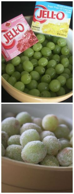 Simplemente cubre uvas frescas con la mezcla de gelatina que quieras, luego enfríalas en la heladera. Ve más instrucciones aquí.