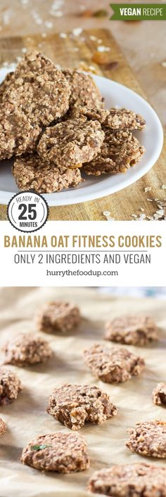 2 Ingredient Fitness Cookies. For when you need an energy boost | #vegan #cookie | hurrythefoodup.com