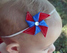 4th of July headband - baby girl - newborn - photo prop - red white and blue - pinwheel - felt - july 4th - america