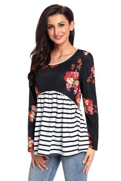 3d2d08a6b78 Dropship Clothes · Blouses & tops · Black Floral Striped Babydoll Tunic