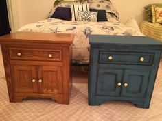 80's oak bedroom nightstand redone with Annie Sloan chalk paint. Two coats of Graphite with Aubusson Blue dry brushed on top