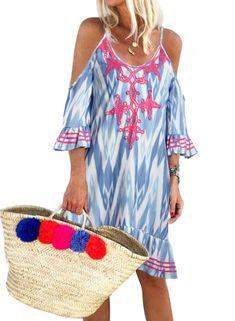 Sky Blue Boho Floral Printed V Neck Vacation Dress Vacation Dresses, Beach Dresses, Dress Beach, Wedding Dresses, Cap Dress, V Neck Dress, Plus Size Maxi Dresses, Short Sleeve Dresses, Midi Dresses