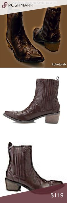 """💋Euc/Matisse """"Cassidy"""" Western Style Booties 💋Euc/Matisse """"Cassidy"""" Western Style Booties/in Brown-Burgundy color/Add a little BoHo detailing 2ur closet/I know UR tempted/Sz8m/ankle-length/2""""Heel/Made w textured materials/western-inspired design appears along top of foot/sections of elastic goring along both side of shaft/hidden from anyone casually looking them over/makes slipping on easy/Pull tabs appear on the backs 2 continue this trend/texturing along outsole & small heel helps 2…"""