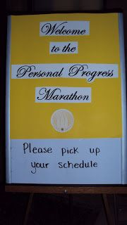 "Personal Progress Marathon  Would be so cute in   August as a ""Back to School"" night complete with cafeteria lunch ;0)"