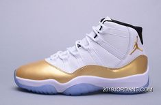 "7973ef14b6b5c5 ""Olympic"" Air Jordan 11 Retro White Metallic Gold Coin-Black Discount"