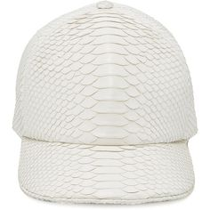 Stalvey     The Big Deep Python Hat ($2,200) ❤ liked on Polyvore featuring accessories, hats, white, white hat, white ball cap, ball cap hats, white trucker hat and baseball caps