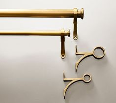 Pottery Barn PB Standard Drape Rod & Wall Bracket - Brass Finish Our Standard Collection creates a classic design, with a beautiful Brass finish. Outdoor Curtain Rods, Outdoor Drapes, Curtain Brackets, Finials For Curtain Rods, Curtain Hardware, Window Hardware, Drapery Rods, Wall Brackets, Kitchen