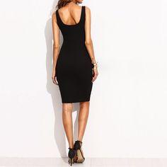 Black Sleeveless Bodycon Midi Dress