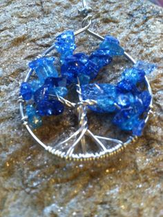 Blue Cracked Crystal Tree of Life by AngelTouchReiki on Etsy, $23.00