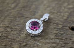 18K White Gold Pendant with a Pink Tourmaline and pave Diamonds