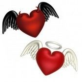 One heart with textured angel wings and a halo.  Another with black wings and horns. I have one of each.