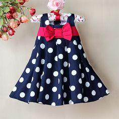 2013 Girl Chiffon Dress, Hot Blue white Dot print High quality beauty sweet comforter princess dresses for baby and children $14.90
