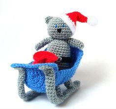 Crochet Christmas Pattern  Sleigh Santa Cat  by MysteriousCats, £3.99