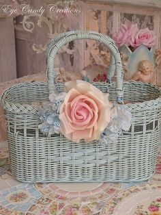 Little blue basket, all shabby and chic  <3