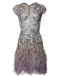 Matthew Williamson   Silver Lacquer Lace Feather Dress   Lyst