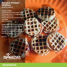 Banana protein waffles to feed and fuel your hungry bodies. Isagenix has done amazing with my body imagine what it can do to yours! Want more info , enquirer with in. Protein Powder Recipes, High Protein Recipes, Protein Foods, Healthy Recipes, Protein Bites, Protein Deserts, Healthy Snacks, Healthy Waffles, Protein Pancakes