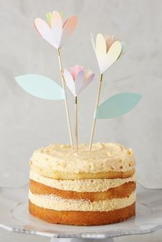 Anthropologie Tulip Cake Toppers Cake Toppers, Diy Cake Topper, Cupcakes, Cupcake Cakes, Café Brunch, Tulip Cake, Cake Bunting, Flag Cake, Bolo Cake