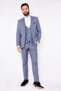 Click here to discover our collection of Men's 3 Piece Suits. Browse our vintage inspired designs in a variety of prints, colours & materials. Shop today! Mens 3 Piece Suits, Three Piece Suit, Mens Suits, Classic Blue Suit, Classic Blues, Blue Tweed Suit, Tweed Suits, Blue Suit Looks, Double Breasted Waistcoat