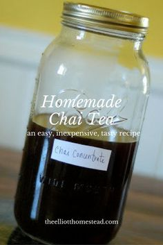 An easy and inexpensive homemade chai tea recipe that is absolutely delicious! The perfect beverage for any time of the day and for any occasion. Yummy Drinks, Healthy Drinks, Yummy Food, Eating Healthy, Tea Recipes, Real Food Recipes, Drink Recipes, Summer Recipes, Deserts
