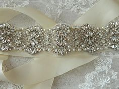 Bridal Rhinestone Belt/Sash,Wedding Sash,Bridal Sash, Crystals Sash,Wedding Gown Sash-Pippa-Ivory Satin Sash
