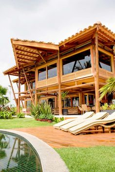 House In The Woods, My House, Bamboo House, Dream House Exterior, Modern House Design, Home Interior Design, Beach House, Pergola, Sweet Home