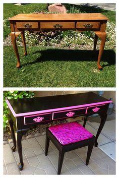 Vintage, shabby, refinished, painted, before and after, refurbished, furniture, DIY, make-over
