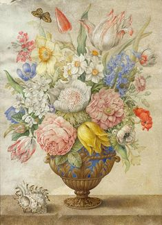 Giovanna Garzoni (Ascoli 1600-1670 Rome), Flowers in a vase on a stone plinth with a shell