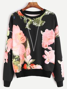 Online shopping for Black Flower Print Topstitch Sweatshirt from a great selection of women's fashion clothing & more at MakeMeChic.COM.