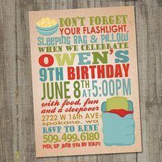Sleep Over Overnight Printable Birthday Party by partymonkey, $15.00