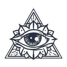 Dreieckiges Tattoos, Tattoo Drawings, Print Tattoos, Small Tattoos, Sleeve Tattoos, Tatoos, Third Eye Tattoos, All Seeing Eye Tattoo, 3rd Eye Tattoo