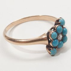 Antique Victorian Gold Turquoise Diamond Daisy Ring Vintage Estate Fine Jewelry