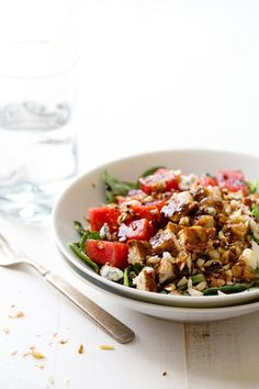 Balsamic Watermelon Chicken Salad (blue cheese, watermelon, almonds, spinach, chicken, and a balsamic reduction)