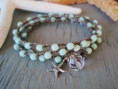 Robin egg blue Crochet 3x wrap bracelet necklace by slashKnots, $34.00