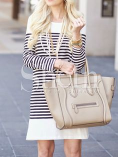 Shop White Black Long Sleeve Striped Dress online. SheIn offers White Black Long Sleeve Striped Dress & more to fit your fashionable needs.