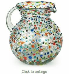 Mexican Hand Blown Glass Pebbled Confetti Pitcher