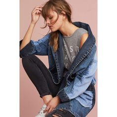 Pilcro Jadira Denim Kimono Jacket ($138) ❤ liked on Polyvore featuring outerwear, jackets, denim light, open front jacket, open front kimono, pilcro, denim kimono and denim kimono jacket