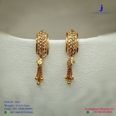 Gold Ring Designs, Gold Bangles Design, Gold Jewellery Design, Jewelry Design Earrings, Gold Earrings Designs, Jewelry Stand, Small Earrings, Gold Earrings For Women, Fancy Jewellery