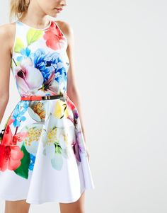 0f9ccb16c710 Image 3 of Ted Baker Skater Dress in Forget Me Not Print Ted Baker Dress