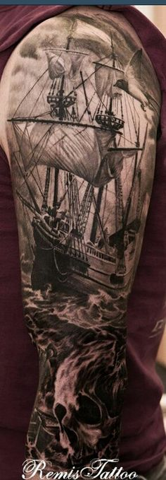 Epic Pirate Ship Tattoo
