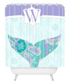 Look what I found on #zulily! Blue Whale 'W' Shower Curtain by DENY Designs #zulilyfinds
