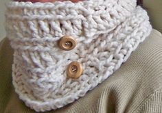 Crochet Cowl  The Chase with Wooden Buttons in by lukesmom6, $22.00