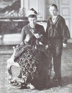 Queen Louise of Denmark with her son, Prince Carl, who later became the first…